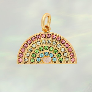 JW00877-GLD-OS - Rainbow Charm- Pastel Pave & Gold - Charm, Charms, Pendant, Pendants, DIY, Jewelry Making, Jewelry Supplies, Jewelry Making Supplies, Necklace Charm, Bracelet Charm, Charm for Necklace, Charm for Bracelet, Gold Charm, Pave, Pave Crystal, Rhinestone, Rainbow, Pastel rainbow, Enamel, Positivity, Cute Charms, VSCO - bc CROP