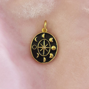 Moon Phases Medallion Charm Pendant Gold & Black Enamel - Wildflower + Co. Charm Jewelry Gifts