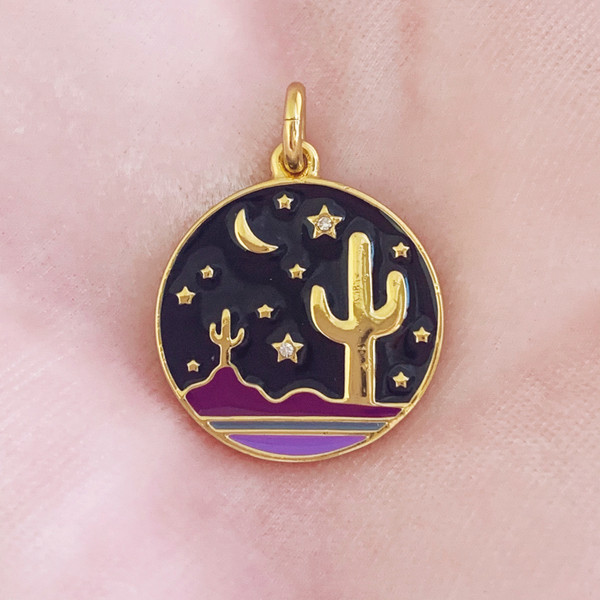 Desert Medallion Charm Pendant Gold Enamel - Wildflower + Co. Charm Jewelry Gifts