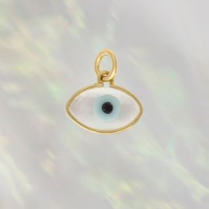 JW00182-HMT-OS - Evil Eye Charm Pendant Shell & Gold - Wildflower + Co. Charm Jewelry Gifts