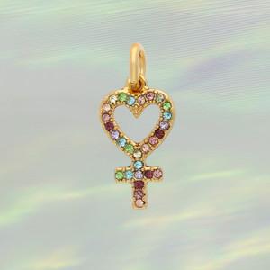 JW00874-GLD-OS - Heart Venus Charm- Pastel Pave - Charm, Charms, Pendant, Pendants, DIY, Jewelry Making, Jewelry Supplies, Jewelry Making Supplies, Necklace Charm, Bracelet Charm, Charm for Necklace, Charm for Bracelet, Gold Charm, Pave, Pave crystal, Rhinestone, heart Charm, heart Venus charm,  pastel charm, pastel pave heart Venus charm, Positivity, Cute Charms, VSCO - BC Crop
