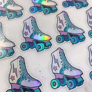Rollerskate Sticker - Holographic Vinyl - Silver Holo Turquoise Blue & Lilac - Stickers for Laptop Water Bottle Phone Case - Wildflower + Co (3)