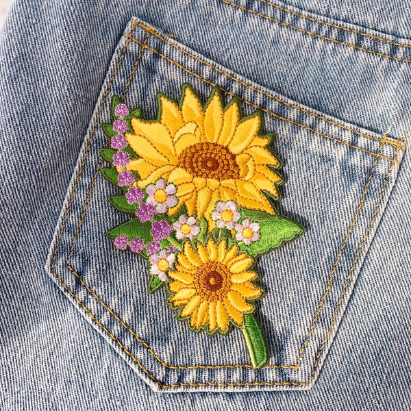 Sunflower Patch - Iron On Embroidered Patches - Mirror Image Set or Individually Sold - VSCO - Boho - Daisy Lavender Flower Floral - Wildflower + Co. Gorgeous sunflower patches accented with other wildflowers.