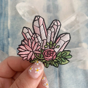 We're seeing crystal visions with these cute crystal iron on patches with floral accents. Wildflower + Co. DIY patches.   ♥ Pink - represents rose quartz with rose+ accents