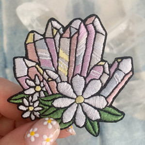 We're seeing crystal visions with these cute crystal iron on patches with floral accents. Wildflower + Co. DIY patches.   ♥ Multi - represents aura quartz with daisy accents