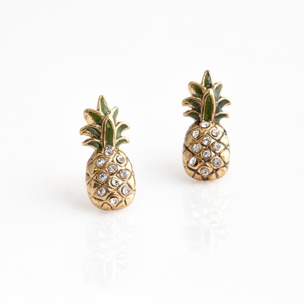 Channel island vibes in these dainty, gold Pineapple Stud Earrings! Intricately detailed with delicate pave crystals, touches of green enamel, & soft gold. VSCO - Wildflower + Co. Jewelry