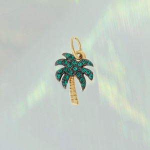 JW00682-GLD-OS - Palm Tree Charm - Pave Crystal & Gold - Aesthetic - Beach - Beachy Vibes - Wildflower + Co