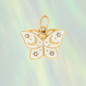 Mystical Butterfly Charm - White & Gold