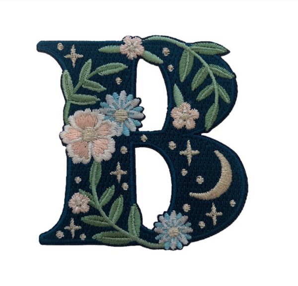 """TR00434-NVY-OS - """"B"""" Botanical Letter Patch  - Embroidered Letters - Applique Letters - Initial Patch -  Cottagecore - Crescent Moon - Moon & Stars - Night Sky - Pastel - Bridal - Romantic -  Flower Girl - Aesthetic - Fairycore - Dreamy - Dark Academia - Botany - Indie - Witchcraft -  Wildflower Co FLOAT"""