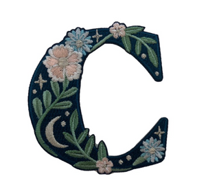 """TR00435-NVY-OS - """"C"""" Botanical Letter Patch  - Embroidered Letters - Applique Letters - Initial Patch -  Cottagecore - Crescent Moon - Moon & Stars - Night Sky - Pastel - Bridal - Romantic -  Flower Girl - Aesthetic - Fairycore - Dreamy - Dark Academia - Botany - Indie - Witchcraft -  Wildflower Co FLOAT"""