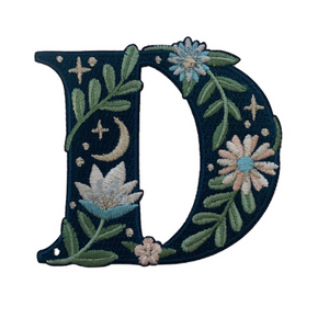 """TR00436-NVY-OS - """"D"""" Botanical Letter Patch  - Embroidered Letters - Applique Letters - Initial Patch -  Cottagecore - Crescent Moon - Moon & Stars - Night Sky - Pastel - Bridal - Romantic -  Flower Girl - Aesthetic - Fairycore - Dreamy - Dark Academia - Botany - Indie - Witchcraft -  Wildflower Co FLOAT"""