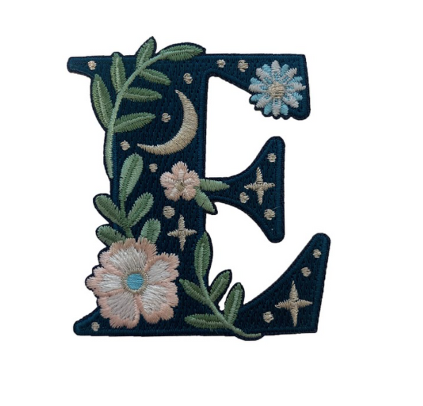 """TR00437-NVY-OS - """"E"""" Botanical Letter Patch  - Embroidered Letters - Applique Letters - Initial Patch -  Cottagecore - Crescent Moon - Moon & Stars - Night Sky - Pastel - Bridal - Romantic -  Flower Girl - Aesthetic - Fairycore - Dreamy - Dark Academia - Botany - Indie - Witchcraft -  Wildflower Co FLOAT"""