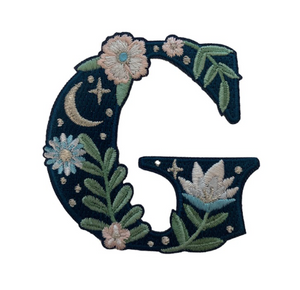 """TR00439-NVY-OS -  """"G"""" Botanical Letter Patch  - Embroidered Letters - Applique Letters - Initial Patch -  Cottagecore - Crescent Moon - Moon & Stars - Night Sky - Pastel - Bridal - Romantic -  Flower Girl - Aesthetic - Fairycore - Dreamy - Dark Academia - Botany - Indie - Witchcraft -  Wildflower Co FLOAT"""