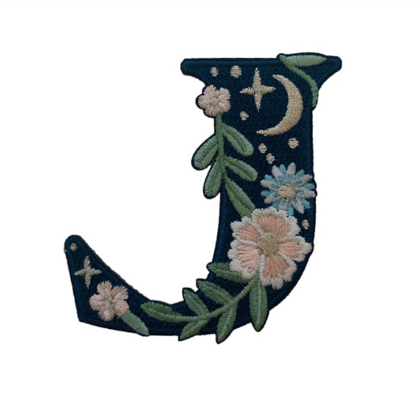 """TR00442-NVY-OS -  """"J"""" Botanical Letter Patch  - Embroidered Letters - Applique Letters - Initial Patch -  Cottagecore - Crescent Moon - Moon & Stars - Night Sky - Pastel - Bridal - Romantic -  Flower Girl - Aesthetic - Fairycore - Dreamy - Dark Academia - Botany - Indie - Witchcraft -  Wildflower Co FLOAT"""