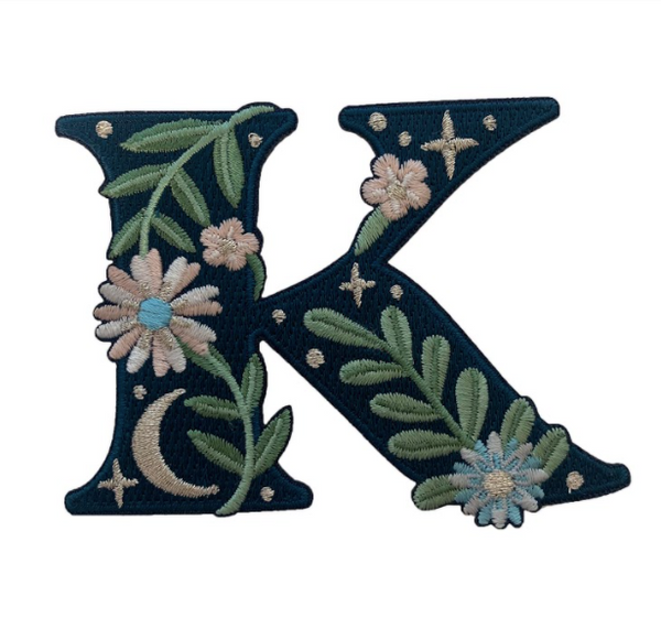 """TR00443-NVY-OS -  """"K"""" Botanical Letter Patch  - Embroidered Letters - Applique Letters - Initial Patch -  Cottagecore - Crescent Moon - Moon & Stars - Night Sky - Pastel - Bridal - Romantic -  Flower Girl - Aesthetic - Fairycore - Dreamy - Dark Academia - Botany - Indie - Witchcraft -  Wildflower Co FLOAT"""