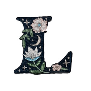 """TR00444-NVY-OS - """"L"""" Botanical Letter Patch  - Embroidered Letters - Applique Letters - Initial Patch -  Cottagecore - Crescent Moon - Moon & Stars - Night Sky - Pastel - Bridal - Romantic -  Flower Girl - Aesthetic - Fairycore - Dreamy - Dark Academia - Botany - Indie - Witchcraft -  Wildflower Co FLOAT"""