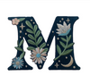 """TR00445-NVY-OS -  """"M"""" Botanical Letter Patch  - Embroidered Letters - Applique Letters - Initial Patch -  Cottagecore - Crescent Moon - Moon & Stars - Night Sky - Pastel - Bridal - Romantic -  Flower Girl - Aesthetic - Fairycore - Dreamy - Dark Academia - Botany - Indie - Witchcraft -  Wildflower Co FLOAT"""
