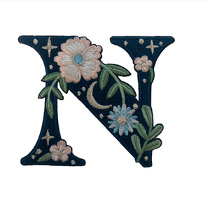 """TR00446-NVY-OS -  """"N"""" Botanical Letter Patch  - Embroidered Letters - Applique Letters - Initial Patch -  Cottagecore - Crescent Moon - Moon & Stars - Night Sky - Pastel - Bridal - Romantic -  Flower Girl - Aesthetic - Fairycore - Dreamy - Dark Academia - Botany - Indie - Witchcraft -  Wildflower Co FLOAT"""
