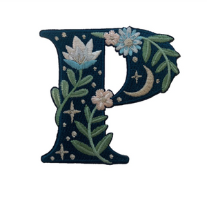 """TR00448-NVY-OS -  """"P"""" Botanical Letter Patch  - Embroidered Letters - Applique Letters - Initial Patch -  Cottagecore - Crescent Moon - Moon & Stars - Night Sky - Pastel - Bridal - Romantic -  Flower Girl - Aesthetic - Fairycore - Dreamy - Dark Academia - Botany - Indie - Witchcraft -  Wildflower Co FLOAT"""