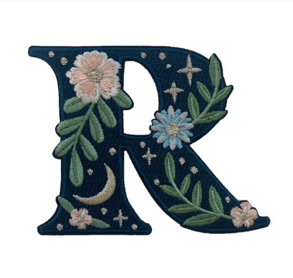"""TR00450-NVY-OS -  """"R"""" Botanical Letter Patch  - Embroidered Letters - Applique Letters - Initial Patch -  Cottagecore - Crescent Moon - Moon & Stars - Night Sky - Pastel - Bridal - Romantic -  Flower Girl - Aesthetic - Fairycore - Dreamy - Dark Academia - Botany - Indie - Witchcraft -  Wildflower Co FLOAT"""