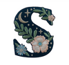 """TR00451-NVY-OS -  """"S"""" Botanical Letter Patch  - Embroidered Letters - Applique Letters - Initial Patch -  Cottagecore - Crescent Moon - Moon & Stars - Night Sky - Pastel - Bridal - Romantic -  Flower Girl - Aesthetic - Fairycore - Dreamy - Dark Academia - Botany - Indie - Witchcraft -  Wildflower Co FLOAT"""