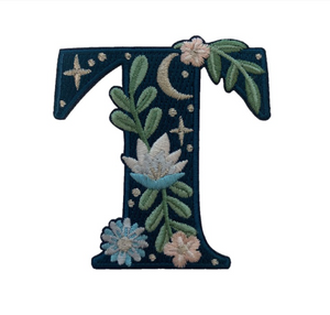 """TR00452-NVY-OS  """"T"""" Botanical Letter Patch  - Embroidered Letters - Applique Letters - Initial Patch -  Cottagecore - Crescent Moon - Moon & Stars - Night Sky - Pastel - Bridal - Romantic -  Flower Girl - Aesthetic - Fairycore - Dreamy - Dark Academia - Botany - Indie - Witchcraft -  Wildflower Co FLOAT"""