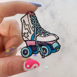 TR00094-WHT-OS - Roller Skate Patch -  Embroidered Patch - Iron on Patch - Patches for Jackets - Roller Derby - Derby Girl - 80s - Vintage - Pastel - Retro - Indie - Neon - Party - Aesthetic - Roller Skate Party - Glitter - Wildflower Co FLOAT