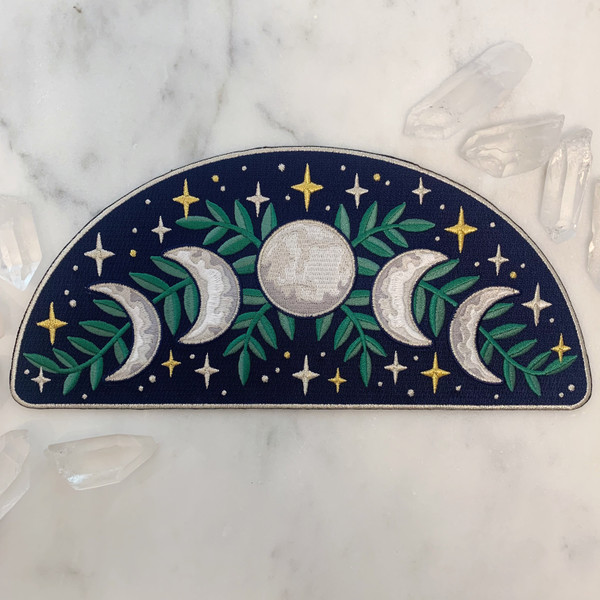 TR00428-NVY-OS-R - Moon Phases Arc XL Back Patch - Iron On - Iron-On - Patch - Patches - Patches for Jackets - Moon Patch - Moon Phases - Aesthetic - Night Sky - Mysterious - Cosmic - Dark Academia - Bridal - Magical - Cottagecore