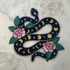 TR00427-BLK-OS-R - Snake w/ Moon Phases XL Back Patch - Iron On - Iron-On - Patch - Patches - Patches for Jackets - Moon Patch - Moon Phases - Aesthetic - Night Sky - Mysterious - Cosmic - Dark Academia - Bridal - Magical - Cottagecore - Serpent