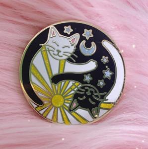 AC00201-MLT-OS - Yin Yang Cats Enamel Pin - Enamel Pin - Hard Enamel - Lapel Pin - Gift - Cats - Cat Pin -  Moon - Sun & Moon - Yin Yang - Celestial - Aesthetic
