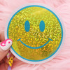 PC00101-YEL-OS - Smiley Face Glitter Holo Sticker, Yellow - Stickers - Emoji - Aesthetic - Good Vibes - Holographic - Happy Face - Positivity - Retro - Glitter