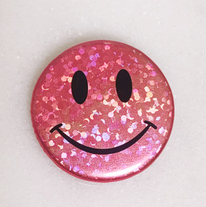 AC00213-PNK-OS - Smiley Face Button Pin, Glitter Holographic - Pink - Button Pin - Buttons - Emoji - Aesthetic - Good Vibes - Holographic - Happy Face - Positivity - Retro - Glitter - Kidcore