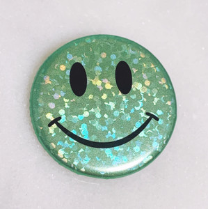 AC00213-MNT-OS - Smiley Face Button Pin, Glitter Holographic - Mint - Button Pin - Buttons - Emoji - Aesthetic - Good Vibes - Holographic - Happy Face - Positivity - Retro - Glitter - Kidcore