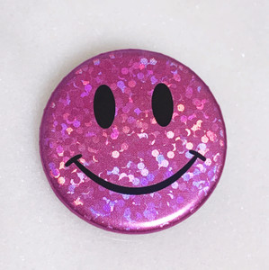 AC00213-LIL-OS - Smiley Face Button Pin, Glitter Holographic - Lilac - Button Pin - Buttons - Emoji - Aesthetic - Good Vibes - Holographic - Happy Face - Positivity - Retro - Glitter - Kidcore