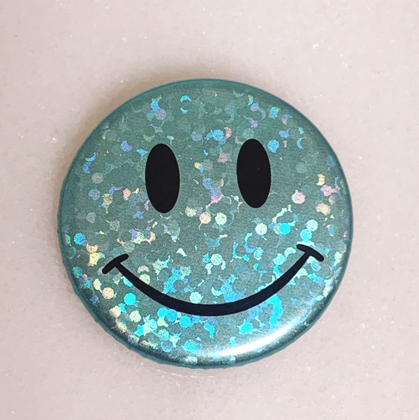 AC00213-AQU-OS - Smiley Face Button Pin, Glitter Holographic - Aqua - Button Pin - Buttons - Emoji - Aesthetic - Good Vibes - Holographic - Happy Face - Positivity - Retro - Glitter - Kidcore