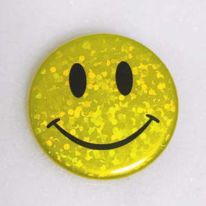 AC00213-YEL-OS - Smiley Face Button Pin, Glitter Holographic - Yellow - Button Pin - Buttons - Emoji - Aesthetic - Good Vibes - Holographic - Happy Face - Positivity - Retro - Glitter - Kidcore
