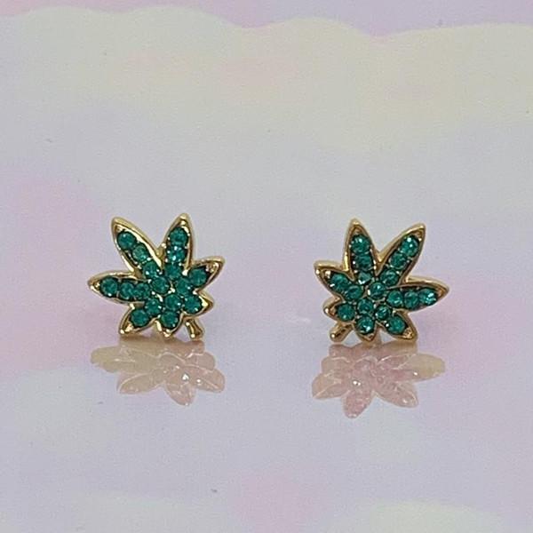 JW00886-GLD-OS-R - Earrings, Stud, Studs, Stud Earrings, Gold, Dainty, Cute Earrings, Earring Studs, Gift, Earring Gift, Glitter, Shiny, Weed, Weed Earrings, Stoner, Marijuana, Cannabis, Mary Jane, Point, Pot, Nature, Plants, Smoker, Pothead, Aesthetic