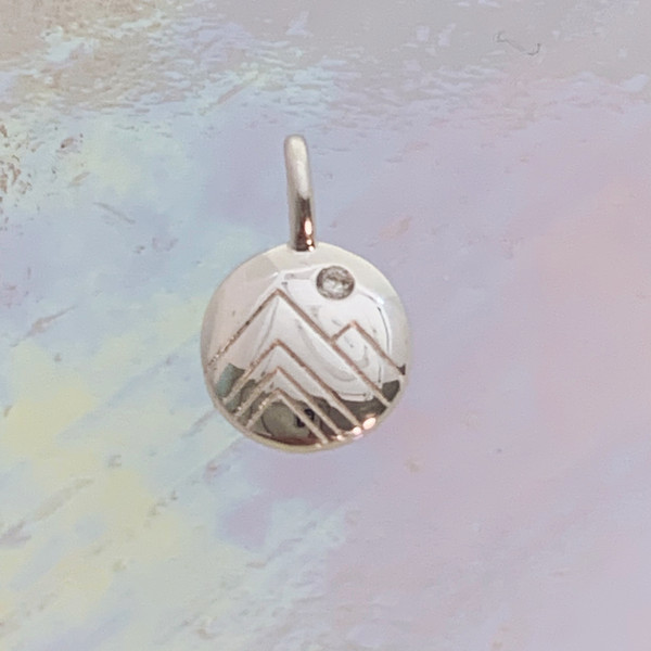 JW00824-SLV-OS Tiny Mountain Medallion Charm, Dainty Necklace, charm, dainty necklace, delicate necklace, layering necklace, minimalist necklace, simple necklace, tiny charm necklace, gift, mountains, mountain, nature, scenic, aesthetic