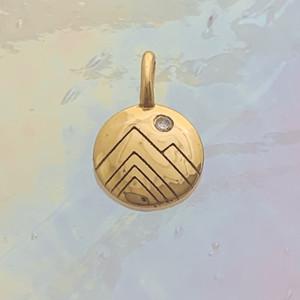 JW00825-GLD-OS Teeny Mountain Medallion Charm, Gold Vermeil, Dainty Necklace, charm, dainty necklace, delicate necklace, layering necklace, minimalist necklace, simple necklace, tiny charm necklace, gift, gold, golden, nature, scenic, aesthetic, cottagecore
