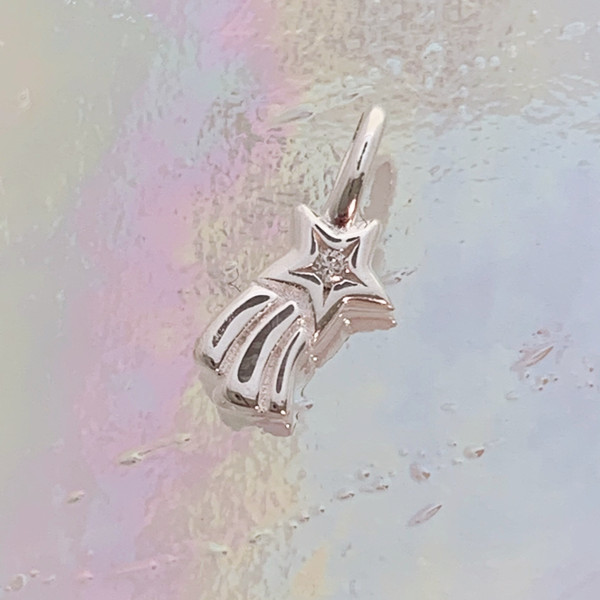 JW00830-SLV-OS Teeny Shooting Star Charm, Sterling Silver, Dainty Necklace, charm, dainty necklace, delicate necklace, layering necklace, minimalist necklace, simple necklace, tiny charm necklace, gift, stars, star, shooting star, star charm, silver, silver charm, silver necklace