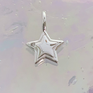 JW00834-SLV-OS Teeny Star Charm, Sterling Silver, Dainty Necklace, charm, dainty necklace, delicate necklace, layering necklace, minimalist necklace, simple necklace, tiny charm necklace, gift, star, galaxy, space, cute, aesthetic, silver, silver charm, silver necklace