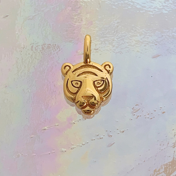 JW00841-GLD-OS Teeny Tiger Charm, Gold Vermeil, Dainty Necklace, charm, dainty necklace, delicate necklace, layering necklace, minimalist necklace, simple necklace, tiny charm necklace, gift, tiger, tiger charm, gold, golden, gold charm, gold necklace