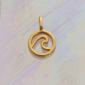 JW00845-GLD-OS Teeny Wave Charm, Gold Vermeil, Dainty Necklace, charm, dainty necklace, delicate necklace, layering necklace, minimalist necklace, simple necklace, tiny charm necklace, gift, wave, wave charm, ocean, ocean charm, gold, golden, gold charm, gold necklace