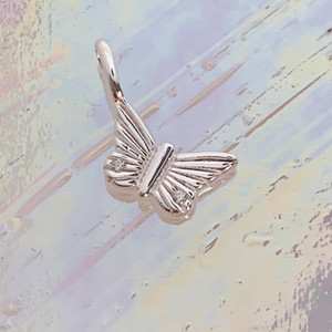 JW00848-SLV-OS Teeny Butterfly Charm, Sterling Silver, Dainty Necklace, charm, dainty necklace, delicate necklace, layering necklace, minimalist necklace, simple necklace, tiny charm necklace, gift, butterfly, butterfly charm, wings, wing charm, silver, silver necklace, silver charm