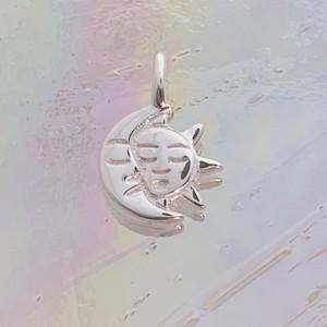 JW00860-SLV-OS Teeny Moon & Sun Charm, Sterling Silver, Dainty Necklace, charm, dainty necklace, delicate necklace, layering necklace, minimalist necklace, simple necklace, tiny charm necklace, gift, sun, moon, sun & moon, sun and moon, ethereal, enchanting, magical, sky, space, sun charm, moon charm, nightsky, midnight, dark academia