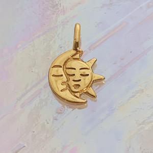 JW00861-GLD-OS Teeny Moon & Sun Charm, Gold Vermeil, Dainty Necklace, charm, dainty necklace, delicate necklace, layering necklace, minimalist necklace, simple necklace, tiny charm necklace, gift, sun, moon, sun & moon, sun and moon, ethereal, enchanting, magical, sky, space, sun charm, moon charm, nightsky, midnight, dark academia