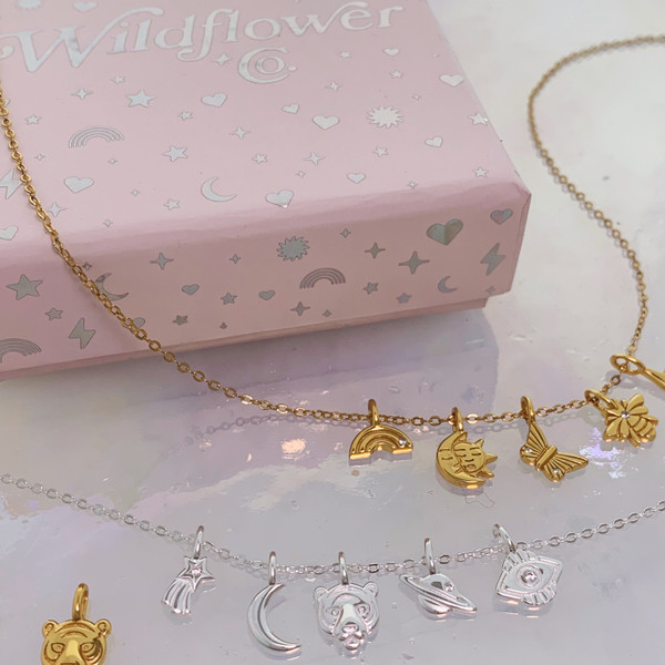 1 - Custom Tiny Charm Necklace - Dainty Gold Necklace - Dainty Silver Necklace - Personalized Gift for Her - Wildflower + Co (14)