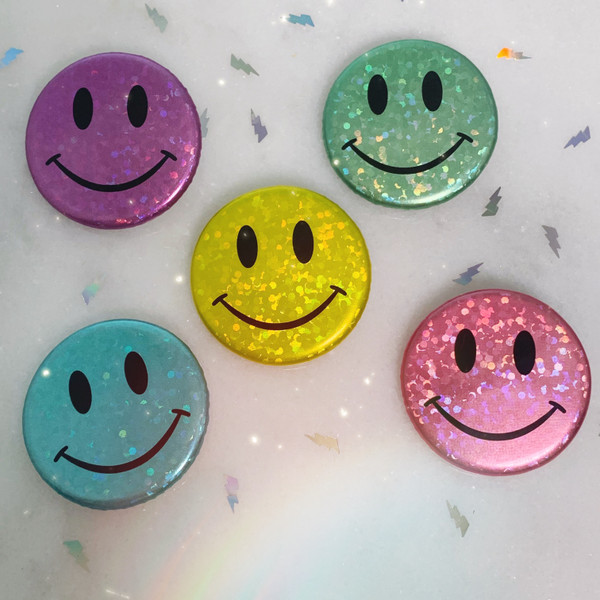 AC00213-ALL-OS - Smiley Face Button Pack Glitter Holographic - Mint - Button Pin - Buttons - Emoji - Aesthetic - Good Vibes - Holographic - Happy Face - Positivity -