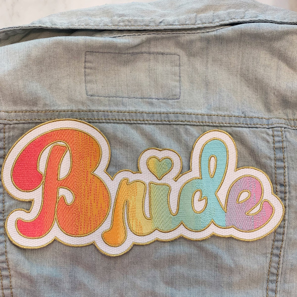 TR00464-MLT-OS LGBTQ Bride XL Back Patch - Lesbian Gay Rainbow Gradient - Patches for Jackets - Bachelorette Party - Iron On, Iron-On, Patch, Patches, Pride, Bachlerotte, Wedding, Bride, Honeymoon, Bridal, Bridal Shower, Rainbow, Gradient, Love, Pride, Pride Month, LGBTQ, LGBT, LGBT+, Gay, Gay Pride, Lesbian Pride, Bisexual, Pansexual, Love, Love is Love, Colorful, WLW, MLM, Queer, Wildflower + Co. DIY