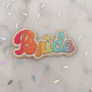 TR00465-MLT-OS LGBTQ Lesbian Rainbow Bride Patch - Gay Pride - Iron On, Iron-On, Patch, Patches, Patches for Jackets, Embroidered, Pride, Bachlerotte, Wedding, Bride, Honeymoon, Bridal, Bridal Shower, Rainbow, Gradient, Love, Pride, Pride Month, LGBTQ, LGBT, LGBT+, Gay, Gay Pride, Lesbian Pride, Bisexual, Pansexual, Love, Love is Love, Colorful, WLW, MLM, Queer Wildflower + Co